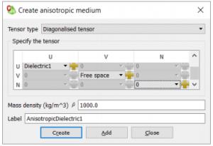 Creating and Anisotropic Medium (Diagonalised Tensor)